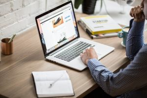 person looking at website on desk